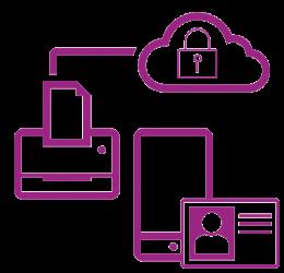 Icône réseau sécurisé violet